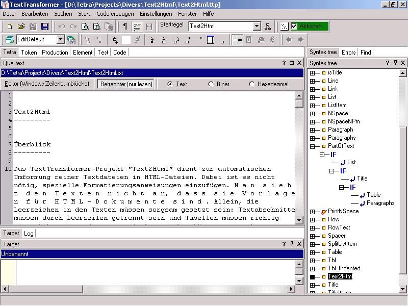 Screenshot vom Programm: TextTransformer